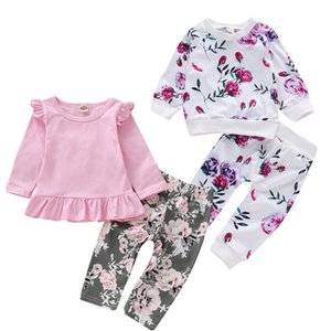 Mikrdoo Toddler Infant Baby Girls Autumn Clothes Set Long Sleeve Ruffle Top Floral Print Pant Hat Cute Outfit Clothing
