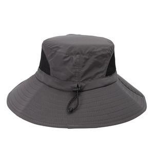 Extérieur Accs été Bucket Chapeau de pêche Chapeaux Casquettes Brim large Respirant Protection solaire Boonie Hat pour camping en plein air BBYES