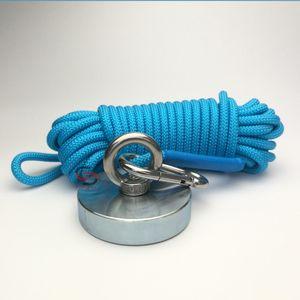 300KG Neodymium Salvage Fishing Magnet Mit Seil D80mm Metallschatzjäger Magnethalte Lifting