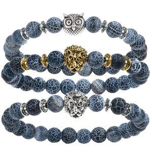 Leopard Tiger Eye Lion Head Pulsera Owl Buddha beads Pulseras Brazaletes Charm Natural Stone Bracelet yoga Jewelry Hombres Mujeres