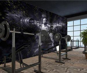 Wholesale-Фреска-3d обои декора дома Фото обои фона Современный тренажерный зал вес подъем мышцы мужских сюртук фон стены обои