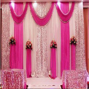 Decoraciones de la boda 3 m * 3 m 3 * 6 m 4 m * 8 m telón de fondo de la boda telones de fondo de lentejuelas de plata material de seda de hielo decoración de la etapa del banquete de boda