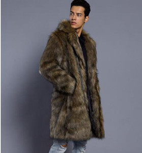 Yeni Avrupa ve Amerikan moda erkek bahar sonbahar versiyonu butik kişilik taklit tilki uzun tarzı kürk / S-3XL