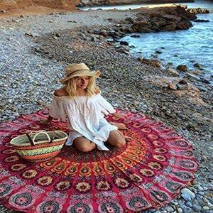 Mikrofaser-runder Strand-Tuch 150cm Badetücher geometrischer Druck Sommer-Sarongs Strand Schals Frauen Sandy Swimming Plage Sunbath