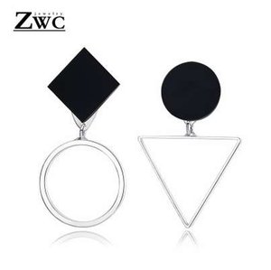ZWC Vintage Personality Asymmetrical Geometric Stud Earring For Women Girl Glamour Fashion Round Triangle Earrings Jewelry Gift