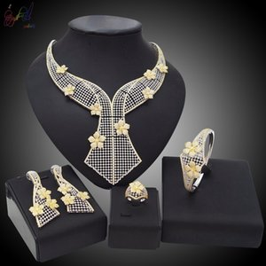 wholesale American Jewellery Bridal Jewelry Sets Rhinestone Party Wedding Prom Costume Accessories Necklace Earring Set Women