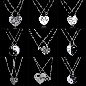 New Fashion 2PC / Set Regali Best Friend Cuore Broken Pendant Necklace Catena Donna Uomo Amicizia Gioielli Fascini Unisex BFF