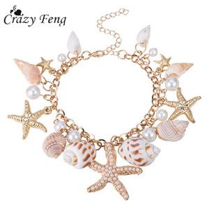 Crazy Feng 2018 Mode Sea Shell Starfish Bracelet pour Femmes D'été Plage Charme Bracelets Bohème Chaîne Bracelet Boho Bijoux