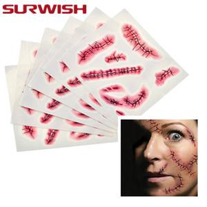 SURWISH 5Pcs Impermeabile Temporary Fake Witch Stitch Scar Tattoo Sticker Halloween Prank Decorazione del partito