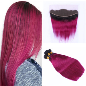 2 тон 1b/розовый Ombre прямые пучки волос с фронтальной закрытия темные корни ярко-розовый Ombre человеческих волос ткет с кружевом фронтальной