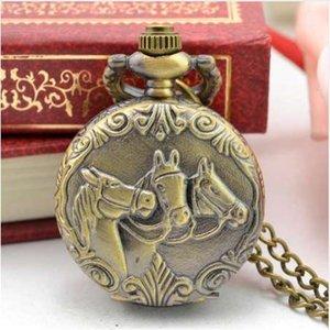 Men's Gift Vintage Classic Retro Bronze Design Pocket Watch Quartz Pendant Necklace pocket fob watches steampunk mechanical
