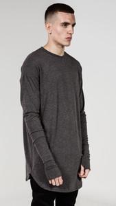 새로운 엄지 구멍 팔목 긴 소매 타이가 장식 스타일 남자 높은 낮은 사이드 분할 힙합 T 셔츠 티셔츠 남성 옷 뜨거운 판매