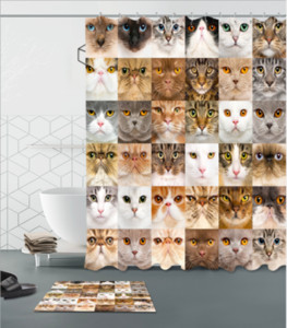 Tende da doccia Cat Eye Cute Lovely Toy Tende con 12 ganci Faces Different Nostalgic Kids Design Tessuto da bagno Decor tappetini set