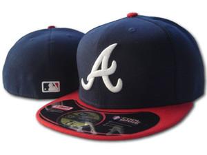 Braves hommes équipés chapeau plat embroidered équipe Une lettre fans de logo baseball Chapeaux Pas cher Baseball Caps braves bleu marine bord rouge pleine capuchon fermé