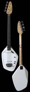 Custom 4 Corde anni '60 Vox Phantom IV Bianco basso elettrico a forma di corpo solido, corpo in acero, intarsio puntino bianco, battipenna bianco, hardware cromato