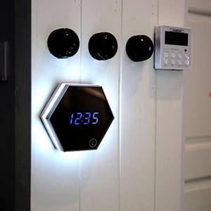 Многофункциональный светодиодный ночной свет настенные часы Зеркало цифровой дисплей будильник с полным выбросом