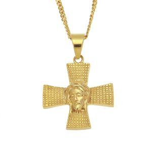 새로운 패션 디자인 힙합 목걸이 316L 스테인레스 스틸 골드 도금 남자 예수 Rapper 목걸이에 대한 십자가 예수의 얼굴 펜던트 목걸이