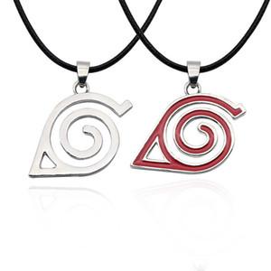 Naruto Halskette Blatt Dorf Symbol Cosplay Anhänger Halsketten Japan Anime Blatt Symbol Halskette Charme Ninja Lederband Halskette