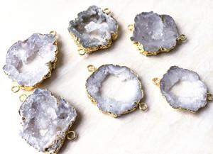 Doğal Kaya Kristal Kuvars Geode Bağlayıcı Druzy Boncuk, Takı için dilim Akik Druzy Taş Bağlayıcı Boncuk