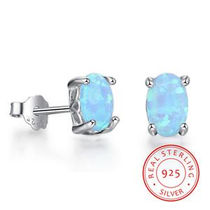 Real стерлингового серебра 925 классический овальный светло-голубой 925 стерлингового серебра Четыре Claw серьги Противопожарные Opal серьги ювелирных изделий венчания EA102054