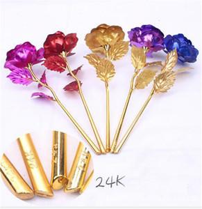 24k Gold Foil Plated Rose Wedding Decoration Golden Rose artificial flower only flower OR Flower base free shipping