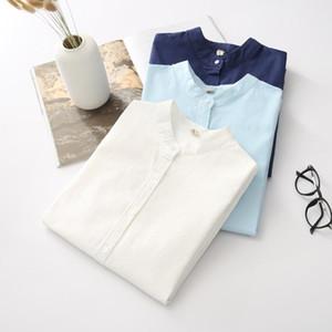 EYM 2018 Marque Nouvelle Arrivée Femmes Chemise Casual Coton Stand Col Solide Couleur Blanc À Manches Longues Blouses Simple Style Lady Tops