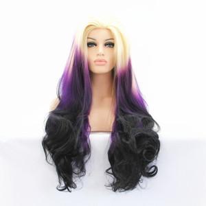 ZhiFan кружева парики белые женщины ombre кружева перед парик глубокий локон смешать цвет 26 дюймов принцесса стиль фиолетовый + черный + бежевый кружева передние части волос