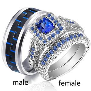 Sz5-12 (DOS ANILLOS) Anillos de pareja Anillo con anillo de oro para mujer de Hers Sapphire White Gold para mujer Anillo de bodas para hombres de acero inoxidable