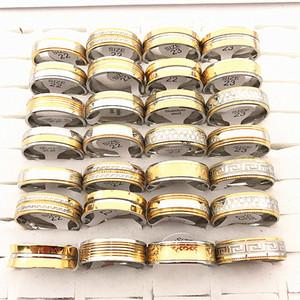 En gros Mens Gold Silver 8mm en acier inoxydable de polissage de grande taille bijoux bagues (taille: 22mm-23mm 10 design)