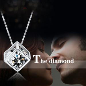 Cubo Mágico amor colgante de collar de cadena de la forma cuadrada de circón colgante de cristal con 16 18 20 pulgadas cadena Mujeres joyas de moda regalo