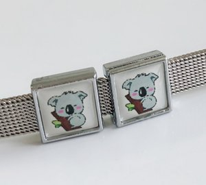 10 pcs 8 MM De Plástico Koala Impressão Praça Encantos de Slides Beads DIY Acessórios Fit 8mm Cintos de Colarinho Pulseiras