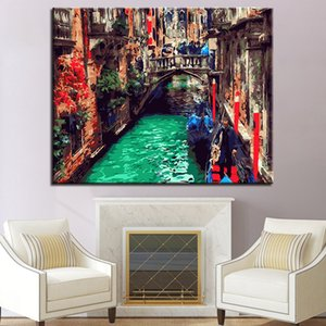 DIY Painting By Numbers Wall Art Picture Acrylic Venice Water City Paint By Numbers Kits For Home Decor Art