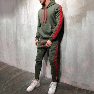 2 Sets Pièces Hommes Survêtement Nouvelle marque Automne Hiver Sweat à capuche + cordonnet Pantalons Homme Stripe Patchwork Sweats à capuche