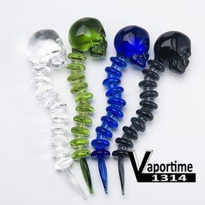 Schädel Glas Dabber Curved Knochen dabbers Banger Carb Cap 4,7 Zoll Länge Klar Schwarz Weiß Blau Grün 5 Farben 572