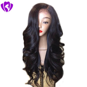 Free shippping side part Synthetic Lace Front Wig with Bangs Long Black Body Wave Hair Synthetic Hair Wigs for Black Women
