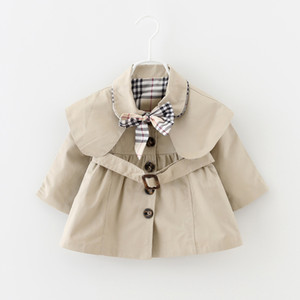 Baby Toddler Девушки Тенч Пальто Весна Отворот Пояс Ветровка Пальто Верхняя Одежда Детская Куртка Одежда