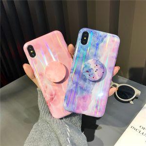 Nouveautés Laser Marble Téléphone Case pour iPhone XS Max XR X 8 7 6 Plus souple TPU cas de téléphone silicone avec support