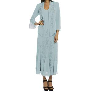Modest Plus Size Grey Mãe Preta da Noiva Vestidos Beads Cristais Chiffon vestidos de noite formal com casamento Jacket Clientes mãe Vestidos