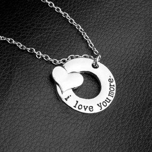 Ich liebe dich mehr Halsketten Herz Anhänger Halskette Buchstaben für Frauen Männer Modeschmuck