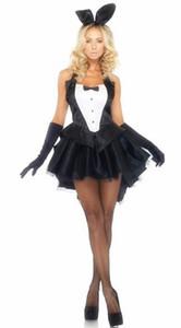 송료 무료 버니 마술사 의상 코스프레 할로윈 의상 유니폼 유니섹스 섹시 란제리 코스프레 여성용 블랙 턱시도