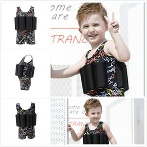 2018 Summer Boys Cool Designs Traje de baño de flotabilidad de una pieza con 8 trajes de baño de flotabilidad removibles Traje de baño para niños fácil de nadar 0-10T