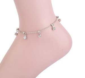 Ankle Bracelets CZ Stone Charm Silver Tone Crystal Inlayed Multi Layer Anklets Gothic Foot Chains Ankle Chain