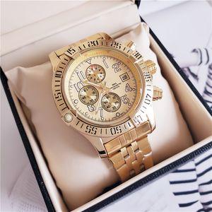 재고 새로운 패션 명품 시계 44.5mm 오션 레이서 A1338012 검은 색 다이얼 VK 쿼츠 크로노 그래프 작업 스테인레스 스틸 남성용 손목 시계