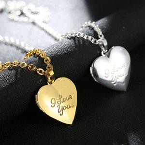Je t'aime coeur Médaillon cadre photo collier pendentif en or / couleur argent bricolage amour romantique bijoux Vintage Femmes meilleur cadeau
