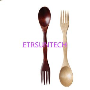 Tenedores de cuchara de madera de alta calidad Set Cubiertos de madera natural café té cucharas ensalada tenedor de fruta LX0598