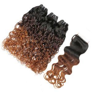 워터 웨이브 # 1B / 4 / 30 Auburn Ombre 브라질 버진 인간의 머리카락 3Bundles with Closure 젖은 물결 모양의 3 톤 옹 브르 4x4 레이스 클로져