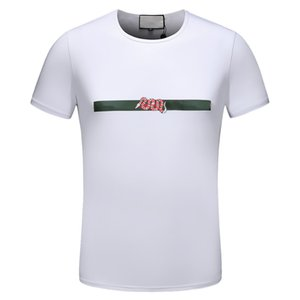 2018 Europe Style T shirts Men Summer Fashion letter Printed Snake Pattern Tshirt Casual Short Sleeve O-neck Tshirt Best Quality with tags