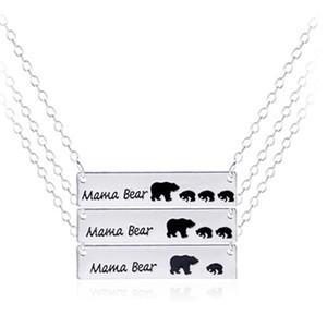 Sıcak Mama Bear Cub Kolye Altın Gümüş Aşk Kolye Anne Çocuk Alaşım Kolye Takı Hediye Için