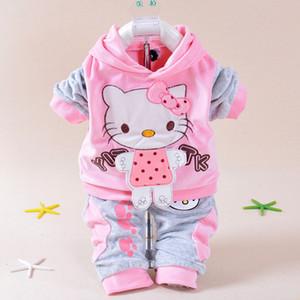 الكرتون طفلة مجموعة ملابس الشتاء طفل رضيع الزي الخريف ملابس لطيف الرضع أعلى + السراويل الناعمة الوليد معطف أبلى رخيصة