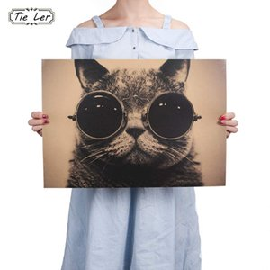 TIE LER Cool Handsome Cat Gafas de sol Rock Animal Kraft Barra de Papel Poster Retro Poster Pintura Decorativa Etiqueta de La Pared